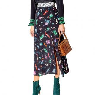 Rixo Thalia Constellation Space Age Print silk midi skirt