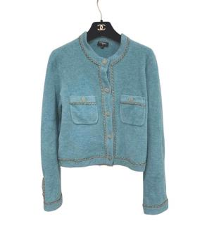 Chanel turquoise blue fluffy knit cardigan with chain trim link