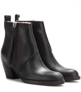 ACNE STUDIOS The Pistol Leather Shearling-Lined Ankle Boots