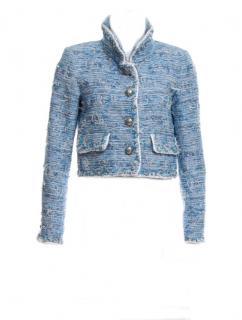 Chanel famous sky blue eyelash/fringe lesage tweed jacket
