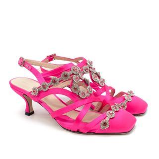 Christopher Kane Crystal Pink Satin Closed Toe Sandals