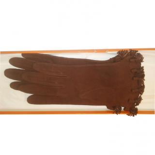 Hermes Brown Suede Tassel Trim Gloves - Size 6.5