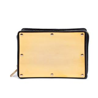 Sophie Hulme Navy & Gold Stamped Box Clutch