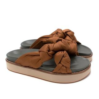 Ganni Brown Satin Mid Knotted Sandals