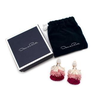 Oscar de la Renta Tri-Colour Silk Tassel Clip-On Earrings