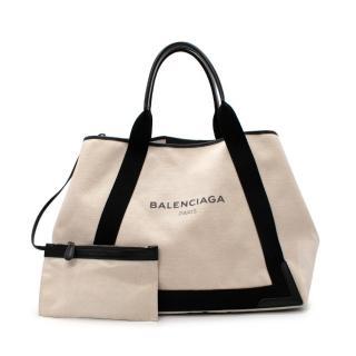 Balenciaga Cabas Ecru & Black Large Tote Bag