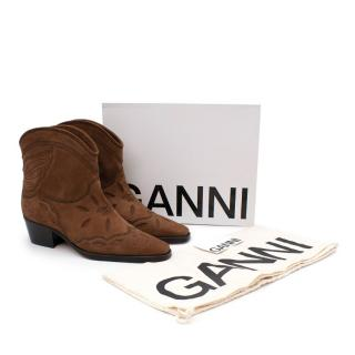 Ganni Low Texas Suede Brown Boots