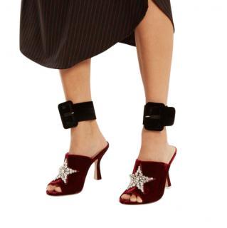 Attico Black Satin Buckle Ankle Straps