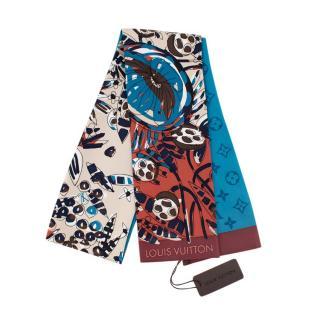 Louis Vuitton Silk Floral Turquoise & Bordeaux Monogram Bandeau