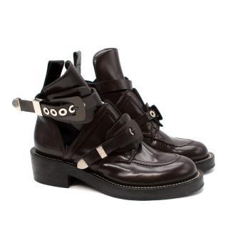 Balenciaga Dark Brown Leather Cut-Out Buckled Ceinture Boots