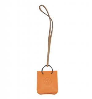Hermes Milo lambskin orange bag charm