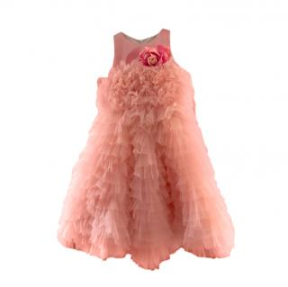 Juona Kids Peach Ruffled Tulle Dress