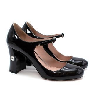 Miu Miu Mary-Jane Black Crystal Embellished Leather Pumps