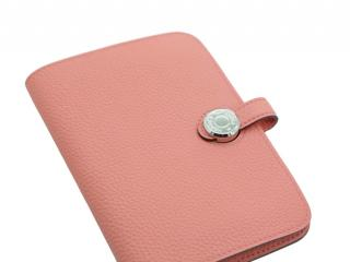Hermes Togo Leather Rose Azalee Compact Dogon Wallet