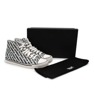 Vetements High-Top Canvas Black & White Printed Logo Sneakers