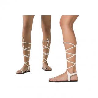 ATP Atelier Candela Ice White Leather Flat Sandals