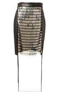Magda Butrym Hamilton black leather embellished skirt