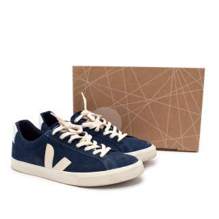 Veja Esplar Low Logo Suede Midnight Pierre Sneakers