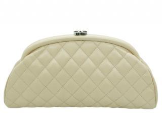 Chanel Beige Caviar Leather Mademoiselle Clutch