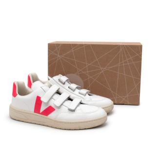 Veja 3-Lock Velcro Super White & Neon Pink Leather Sneakers