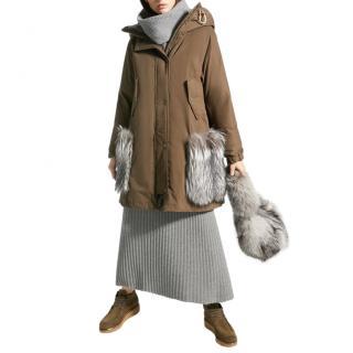 Weekend Max Mara Khaki For Fur Trim Parka