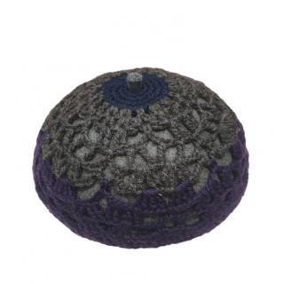 Prada Blue Crochet Wool & Felt Pillbox hat