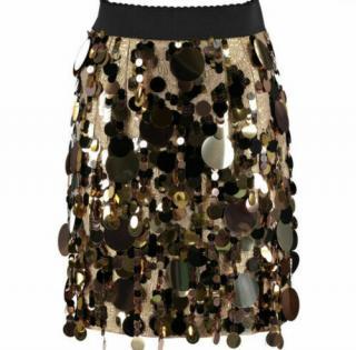 Dolce & Gabbana Rose Gold Embellished Jacquard Skirt