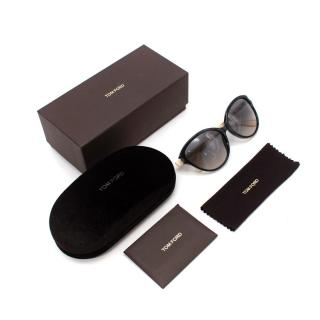 Tom Ford Priscilla Black & Cream Cat-Eye Sunglasses