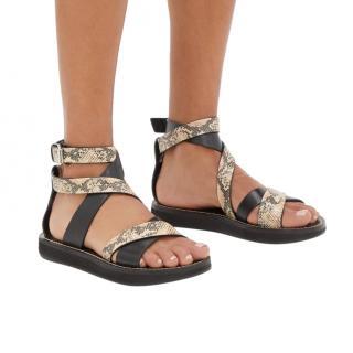 Isabel Marant Nasha Black Python-Embossed Leather Sandals