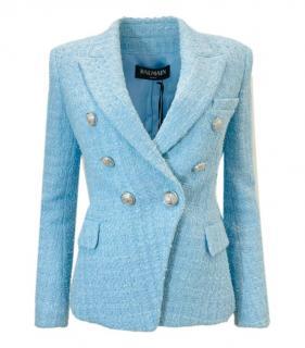 Balmain Sky Blue Cotton Tweed Jacket