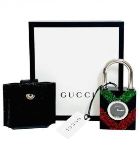 Gucci Glitter Web Constance Padlock Clock W/ Python Skin Case