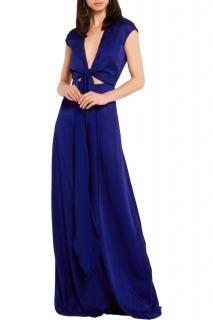 Victoria Beckham Blue Brushed Satin Tie-Front Gown