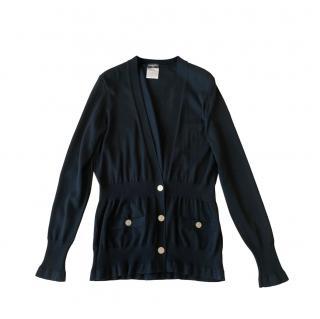 Chanel Paris/London Black CC Buttons Cardigan