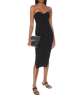 Khaite Loie Ribbed-Knit Black Strapless Dress