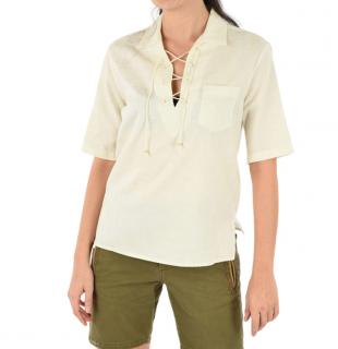 Saint Laurent off white paisley print lace up front shirt
