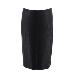 DVF black stretch leather pencil skirt