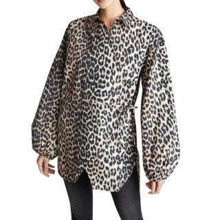 Ganni Cotton Leopard Print Poplin Blouse
