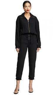 Nanushka Mercury Black Textured Long Sleeve Jumpsuit
