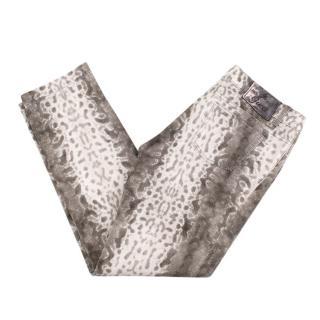 Gucci Natural Snake Print Cotton Blend Jeans