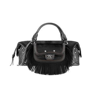 Chanel Paris/Dallas Black Suede & Leather Fringed Bowling Bag