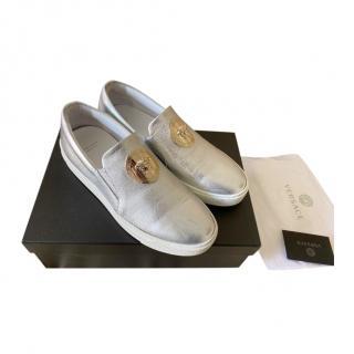 Versace Silver Medusa Head Loafers