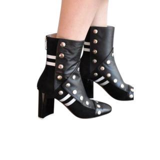Maison Margiela Black Leather/Suede Patchwork Ankle Boots