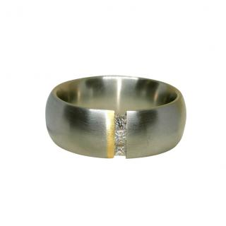 Bunz Stainless Steel & 18ct Gold Diamond Ring