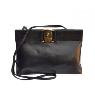Ferragamo Vintage Navy Vara Crossbody Bag