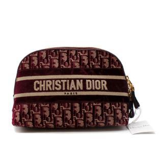 Dior Bordeaux Oblique Embroidered Pouch