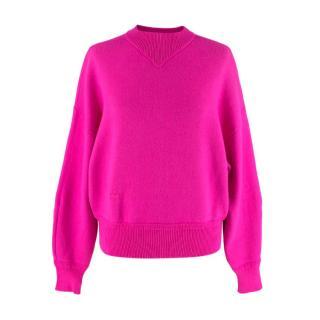 Isabel Marant Neon Pink Wool Blend Karl Mock Neck Jumper