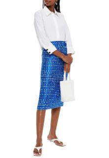 Marni Cobalt blue Printed cupro-satin midi skirt