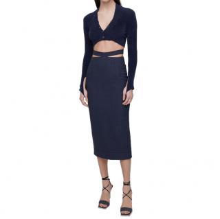 Jacquemus Navy Linen Blend Cut-Out Midi Skirt