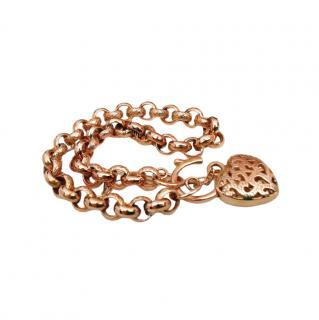 Bespoke 9ct Rose Gold Vintage Heart Padlock Chain Bracelet
