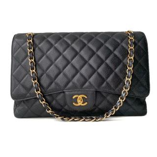Chanel Quilted Caviar Leather Black Maxi Flap Bag